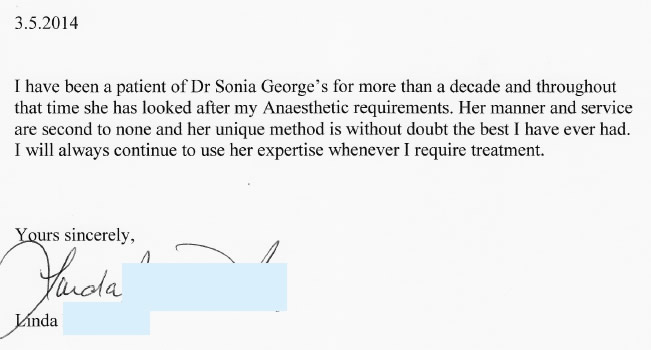 Linda - Patient reference letter