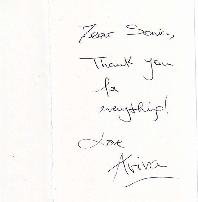 Patient's thank you card